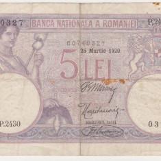 ROMANIA 5 lei 25 martie 1920 VF data lunga - Bancnota romaneasca