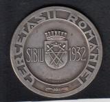 ROMANIA MEDALIE CERCETASII ROMANIEI JAMBOREEA NATIONALA SIBIU 1932 4,5 x 4,5 CM.