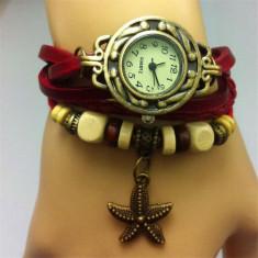 Ceas dama Geneva Fashion bratari multiple rosu aspect vintage cutie cadou, Quartz, Metal necunoscut, Analog, Nou
