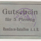 5 pfennig ND 1917-1918 VF Strasbourg Lagarul de prizonieri romani notgeld