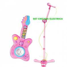 SET CHITARA ELECTRICA SI MICROFON CU STATIV, MP3 PENTRU COPIII, UN CADOU MINUNAT!