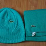 Set Fular + Fes Lacoste. Made in France. Barbati. Culoare verde.