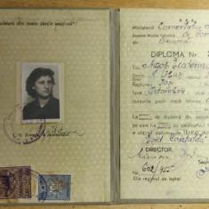BDA S1 - DIPLOMA ABSOLVIRE - SCOALA TEHNICA DE COMERT - 1953 - PIESA DE COLECTIE