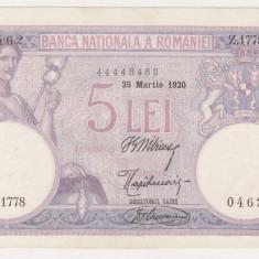 ROMANIA 5 lei 25 martie 1920 UNC- data lunga - Bancnota romaneasca