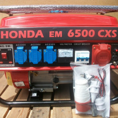 Generator de curent Honda, putere 5kw, 220v + 380v, benzina + GPL, NOU - Generator curent, Generatoare uz general