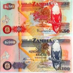 Lot/Set Bancnote ZAMBIA: 50+ 100 KWACHA, anul 2008 necirculate!!! cod 239 - bancnota africa