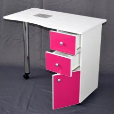 Masa pentru manichiura, din MDF 3D, culoare FUCHSIA cu colector si lampa - Masa manichiura