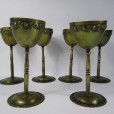 C Set 6 paharele din alama Secession, Art Nouveau - Argint, Zaharnita
