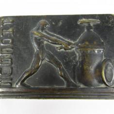 c Prespapier vechi din bronz Art Deco cu recalma, Phoebus, semnat
