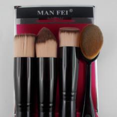 Set 4 pensule machiaj make up profesionale kabuki cu pensula ovala - Pensula machiaj