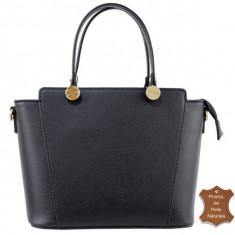 Geanta dama neagra piele naturala casual office Adela - Italia-geanta neagra, Culoare: Negru, Marime: Masura unica, Geanta de umar