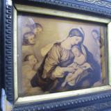 c Maria cu pruncul  Litografie veche pe sticla convexa, dimensiuni mici