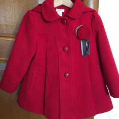 Palton rosu stofa fetite 2-3 ani Mansoon, Marime: Marime universala