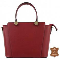 Geanta dama rosie din piele naturala Adela - Italia - Geanta rosie de umar