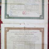 2 diplome de absolvire Scoala de fete Dorohoi Iasi regaliste 1928 1936