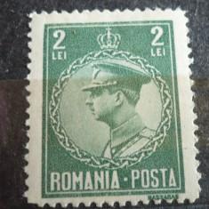 ROMANIA 1930 – REGELE CAROL II,, timbru nestampilat 2 LEI, M342 - Timbre Romania