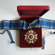 Ordinul Coroana Romaniei, tip 1 pt Civili, model deosebit din argint + cutie