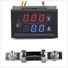 Voltmetru si Ampermetru digital 200 V 200 A rosu - albastru, shunt (sunt) inclus - Multimetre