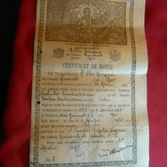 Certificat de Botez 1945 eliberat la Bucuresti Biserica I.Gorgani - Pasaport/Document