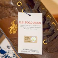 US Pollo Assn® adidasi casual din piele 43 - Tenisi barbati US Polo Assn, Culoare: Maro