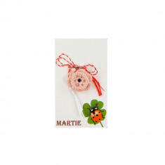 Martisor Brosa Crosetat Manual Floare Roz pal cu Biluta Neagra - Martisor handmade