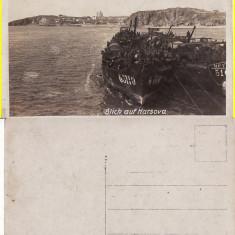 Harsova (Dobrogea, Constanta) - Nave militare pe Dunare -foto WWI - Carte Postala Dobrogea 1904-1918, Necirculata, Printata
