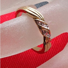 Inel LOGODNA/ verigheta - PLACAT CU aur 18k -marimea 7, 17 mm - Inel placate cu aur
