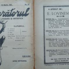 Sburatorul ; Revista literara si artistica ; Eugen Lovinescu , nr. 44 , 1921