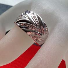 Inel verigheta- Placat cu AUR alb si Swarovski - marimea 8, 18 mm + CUTIE CADOU - Inel placate cu aur