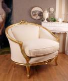 SOFA BAROC DIN LEMN MASIV AURIU SI TAPITERIE ALBA CAT559A01, Sufragerii si mobilier salon