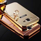 Bumper Aluminiu Samsung Galaxy Core Prime G360 + Capac Mirror Gold, Alt model telefon Samsung, Auriu, Metal / Aluminiu