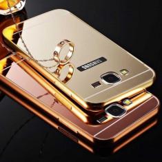 Bumper Aluminiu Samsung Galaxy Core Prime G360 + Capac Mirror Gold - Bumper Telefon