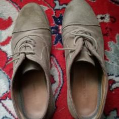 Pantofi Zara Man, Piele intoarsa. - Pantof barbat Zara, Marime: 43, Culoare: Maro