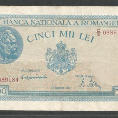 ROMANIA 5000 5.000 LEI 10 OCTOMBRIE 1944 [6] P-55, VF - Bancnota romaneasca