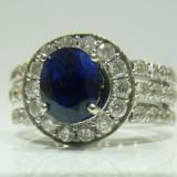 Inel aur 14k cu sapphire si diamante - Inel diamant, Culoare: Alb