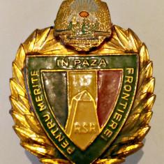 INSIGNA PENTRU MERITE IN PAZA FRONTIEREI RSR GRANICERI MINISTERUL DE INTERNE MI
