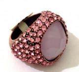 LICHIDARE STOC-Inel roz -placat cu rhodium si Swarovski - marimea 6 , 16 mm