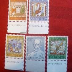 Serie Pro Patria Elvetia 1967, 5 valori - Timbre straine, Nestampilat