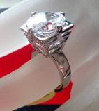 Inel logodna-Placat cu AUR ALB  18k si Swarovski - marimea 8 ,18 mm