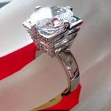 Inel logodna-Placat cu AUR ALB si Swarovski - marimea 8, 18 mm - Inel placate cu aur
