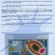 BANCNOTA DE 2000 LEI 1999 ECLIPSA SERII 001A IN FOLDER SI PLIC BNR UNC - Bancnota romaneasca