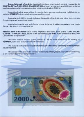 BANCNOTA DE 2000 LEI 1999 ECLIPSA SERII 001A IN FOLDER SI PLIC BNR UNC foto