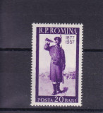 ROMANIA 1957 , LP 437 , 80 ANI DE LA  RAZBOIUL DE INDEPENDENTA , MNH, Nestampilat