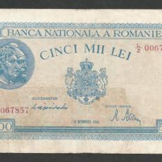 ROMANIA 5000 5.000 LEI 10 OCTOMBRIE 1944 [10] P-55, VF - Bancnota romaneasca