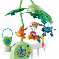 Carusel muzical pt patut Fisher-Price Fisher-Price Rainforest Peek-A-Boo Leaves, ID296 - Carusel patut