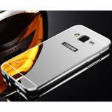 Bumper Aluminiu Samsung Galaxy Core Prime G360 + Capac Mirror Silver, Alt model telefon Samsung, Argintiu, Metal / Aluminiu