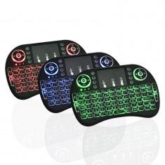 Mini tastatura wireless I8 ILUMINATA ROSU ALBASTRU VERDE cu acumulator Smart TV, Fara fir