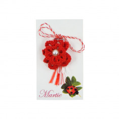 Martisor Brosa Crosetat Manual Floare Rosie cu Perla Alba - Martisor handmade
