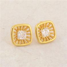 Cercei dublu placati aur 18k cristale zirconiu cod G777 - Cercei placati cu aur