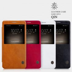 Husa HUAWEI Mate 9 Qin Leather by Nillkin Rosie - Husa Telefon Huawei, Rosu, Piele Ecologica, Cu clapeta, Toc